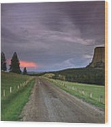 A Twilight View Down A Dirt Road Wood Print