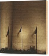 A Twilight View Of American Flags Wood Print