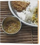A Typical Plate Of Indian Rajasthani Food On A Bamboo Table Wood Print