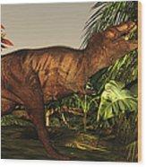A Tyrannosaurus Rex Runs Wood Print by Corey Ford