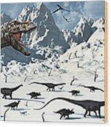 A  Tyrannosaurus Rex Stalks A Mixed Wood Print