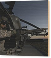 A Uh-60l Blackhawk Door Gunner Mans Wood Print