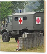 A Unimog In An Ambulance Version In Use Wood Print by Luc De Jaeger