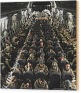 A Unit Of U.s. Army Soldiers In A C-17 Wood Print