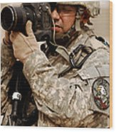 A U.s. Air Force Combat Cameraman Wood Print by Stocktrek Images