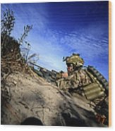 A U.s. Army Soldier Provides Supporting Wood Print