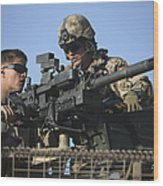 A U.s. Marine Fires A Gmg Automatic Wood Print