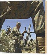 A U.s. Marine Mortarman Trains On An Wood Print