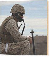 A U.s. Marine Uses A Field Phone Wood Print