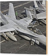 A Us Navy Fa-18c Hornet Parked Wood Print