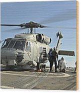 A U.s. Navy Sh-60b Seahawk Helicopter Wood Print