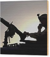 A U.s. Soldier Talks On A Hand Mike Wood Print by Stocktrek Images