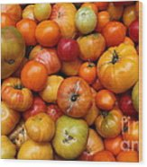 A Variety Of Fresh Tomatoes - 5d17812-long Wood Print