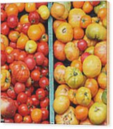 A Variety Of Fresh Tomatoes - 5d17904-long Wood Print by Wingsdomain Art and Photography