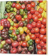 A Variety Of Fresh Tomatoes And Celeries - 5d17901 Wood Print