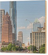 A View Down Congress Street Austin Texas Wood Print