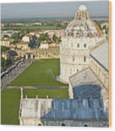 A View From The Bell Tower Of Pisa  Wood Print