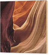 A View In A Slot Canyon Wood Print
