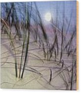 A View Of A Full Moon Rising Wood Print