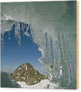 A View Of A Mountain Summit Wood Print