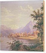 A View Of Scherzingen On The Lake Of Thun Wood Print by Jakob Suter