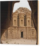 A View Of The Monastary In Petra Wood Print