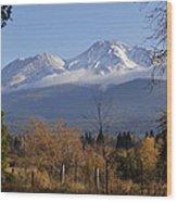 A View Toward Mt Shasta In Autumn Wood Print