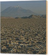 A Volcano Rises Above A Dry Lake Bed Wood Print