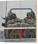A Vw Iltis Recce Jeep On Guard Wood Print