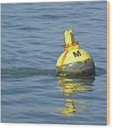 A Water Buoy In The Blue Water Of San Francisco Bay Wood Print