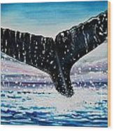 A Whale And A Violet Sunset Wood Print