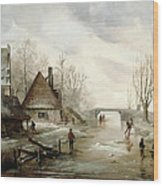 A Winter Landscape With Figures Skating Wood Print