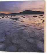 A Winter Sunset At Evenskjer In Troms Wood Print by Arild Heitmann