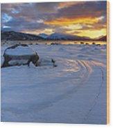 A Winter Sunset Over Tjeldsundet Wood Print by Arild Heitmann