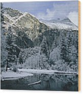 A Winter View Of The Merced River Wood Print