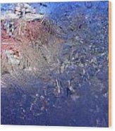 A Wintry Icy Window Wood Print