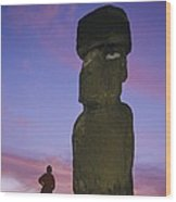 A Woman And A Monolithic Statue Wood Print