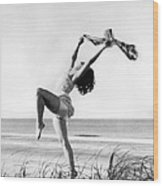 A Woman Dancing On The Shore Wood Print