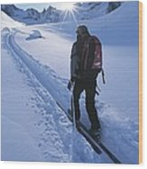 A Woman Skiing In The Selkirk Wood Print