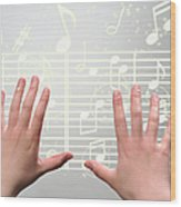 A Woman's Hands  Operating On Digital Music Wood Print