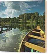 A Wooden Boat On A Lake In Suwalki Lake District Wood Print by Slawek Staszczuk