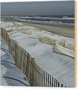 A Wooden Fence Casts A Shadow Wood Print