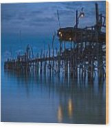 A Wooden Pier With Lights On It At Wood Print