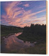 A Wyoming Sunset Wood Print