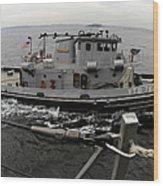 A Yokosuka Naval Tugboat Prepares Wood Print