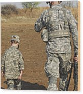 A Young Boy Joins His Squad Leader Wood Print