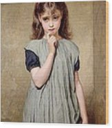 A Young Girl In The Classroom Wood Print