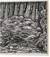 Aaron Battles The Ogre Wood Print