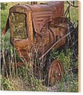 Abandonded Farm Tractor 1 Wood Print