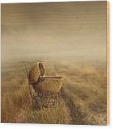 Abandoned Antique Baby Carriage In Field Wood Print